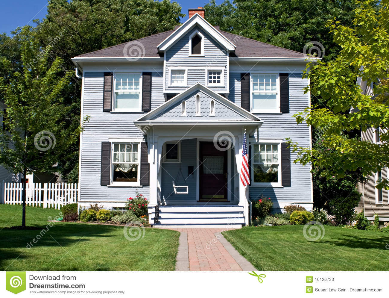 All american home stock image image of green exterior for Americanhome com