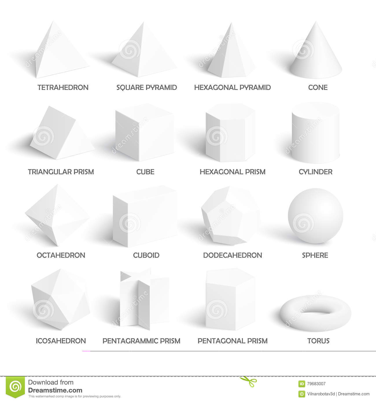 all basic 3d shapes template stock illustration illustration of