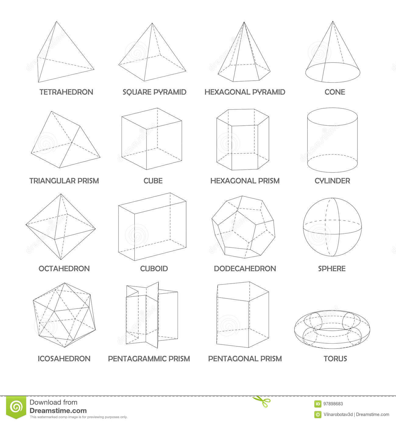 all basic 3d shapes template realistic with shadow stock vector