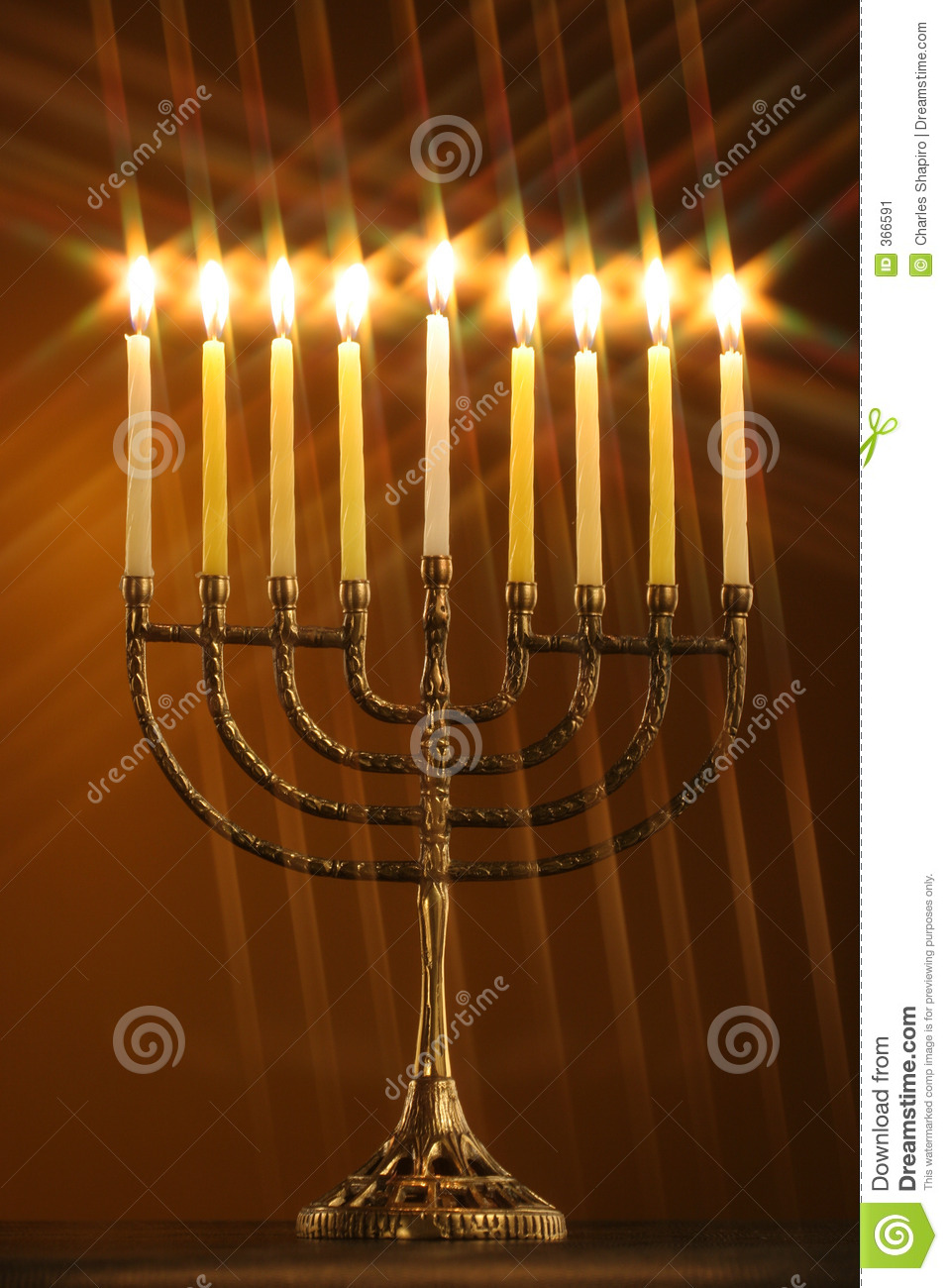 All Candle Lite On The Traditional Hanukkah Menorah With