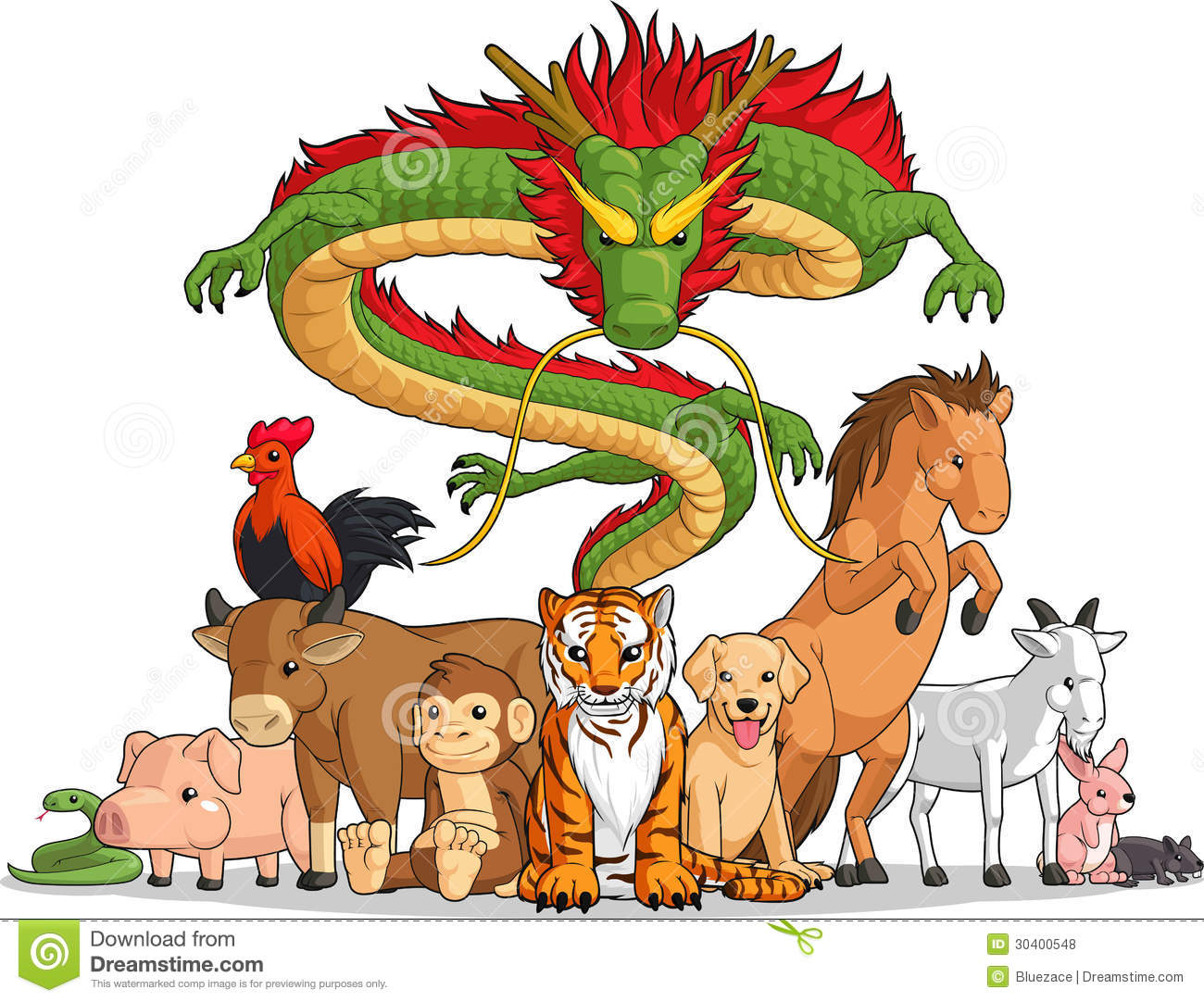 All 12 Chinese Zodiac Animals Together Stock Vector ...