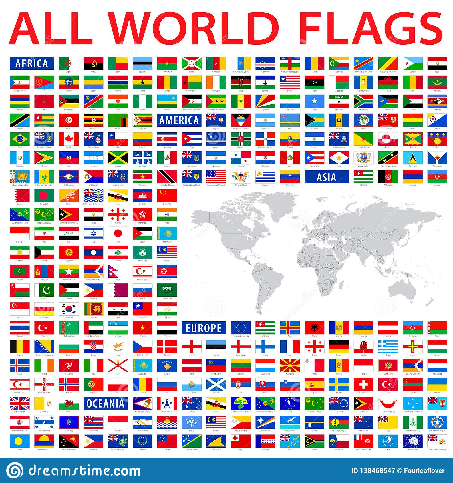 All Country Flags Of The World Stock Vector Illustration Of France Economy 138468547