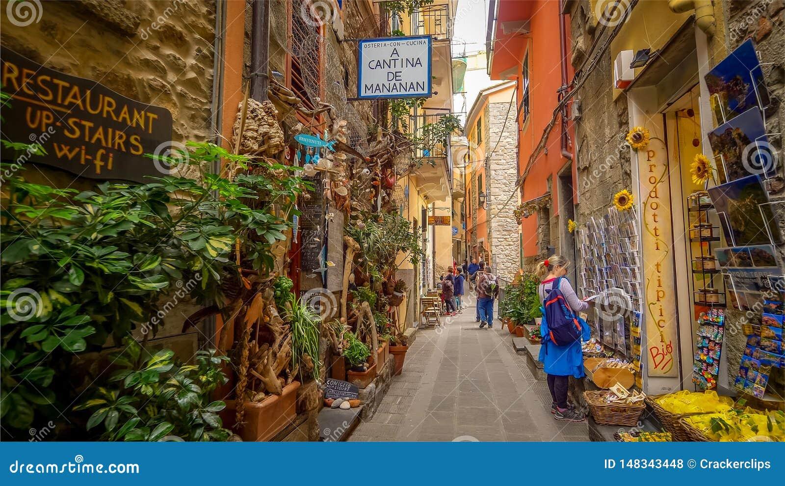 All?e ?troite en Cinque Terre Village de Corniglia, La Spezia, Italie