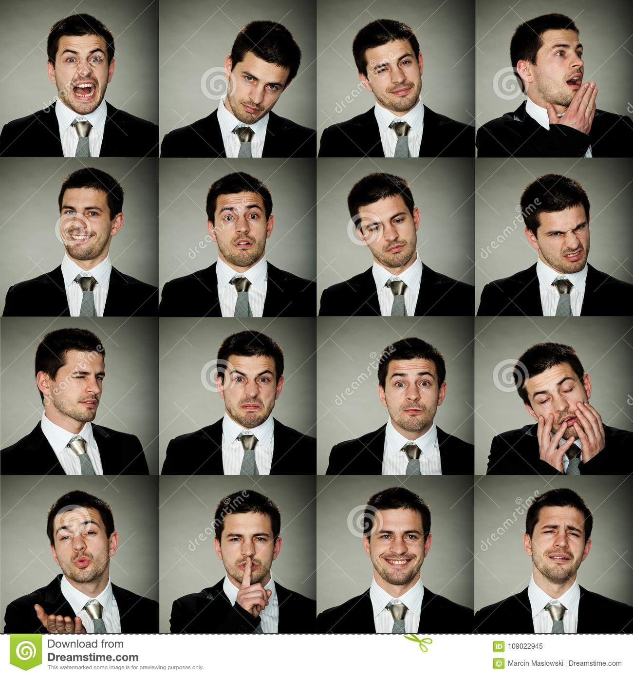 All emotions, business man in many options of emotions