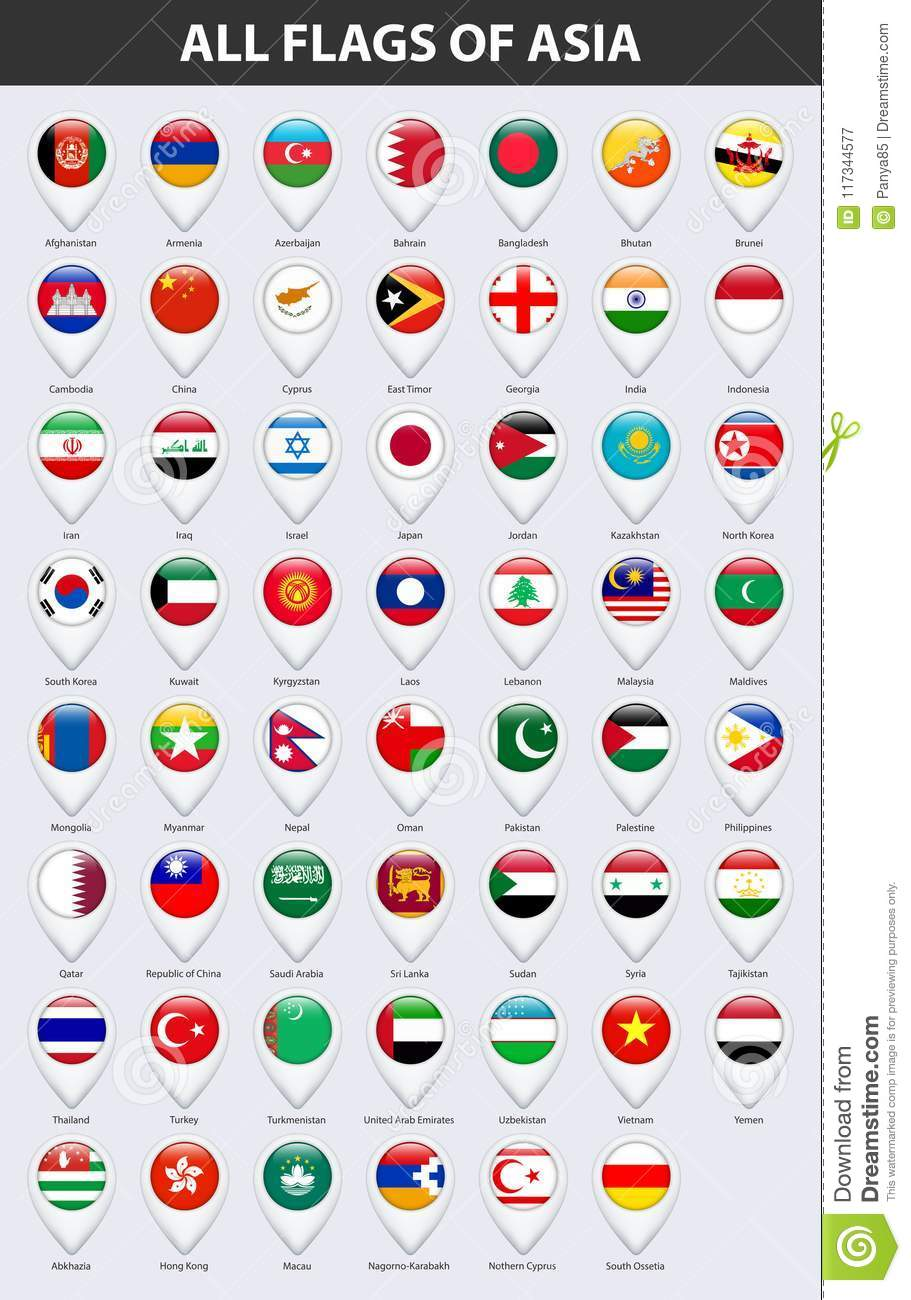All Flags Of The Countries Of Asia. Pin Map Pointer Glossy Style ...