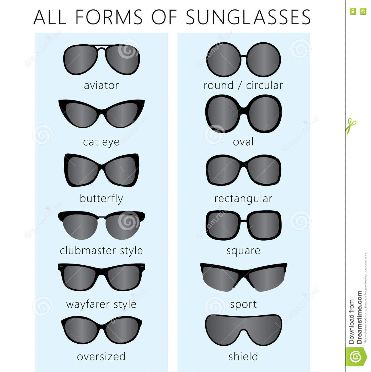 1d280da5b4 All forms   types of fashionable sunglasses. Types sunglasses. Vector. More  similar stock illustrations