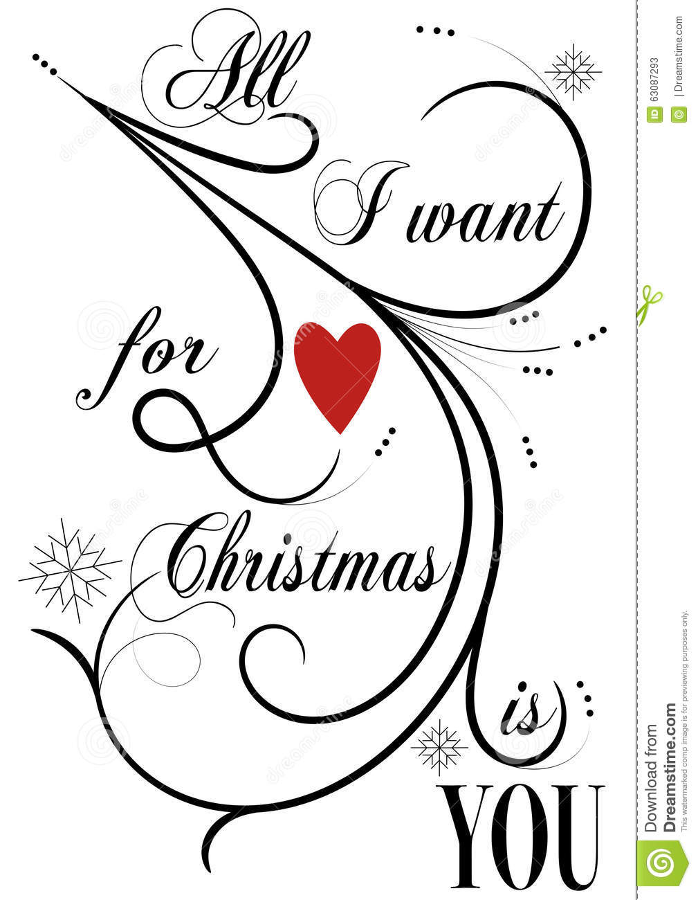 All I Want For Christmas Is You Stock Image - Illustration of twirl ...