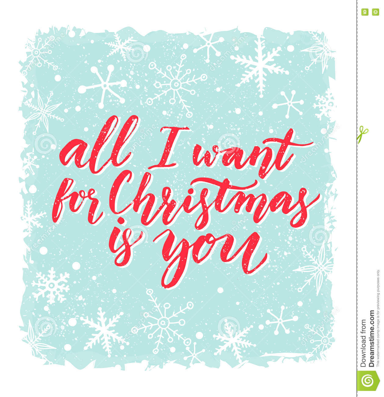 All I Want For Christmas Is You Greeting Card With Romantic Saying