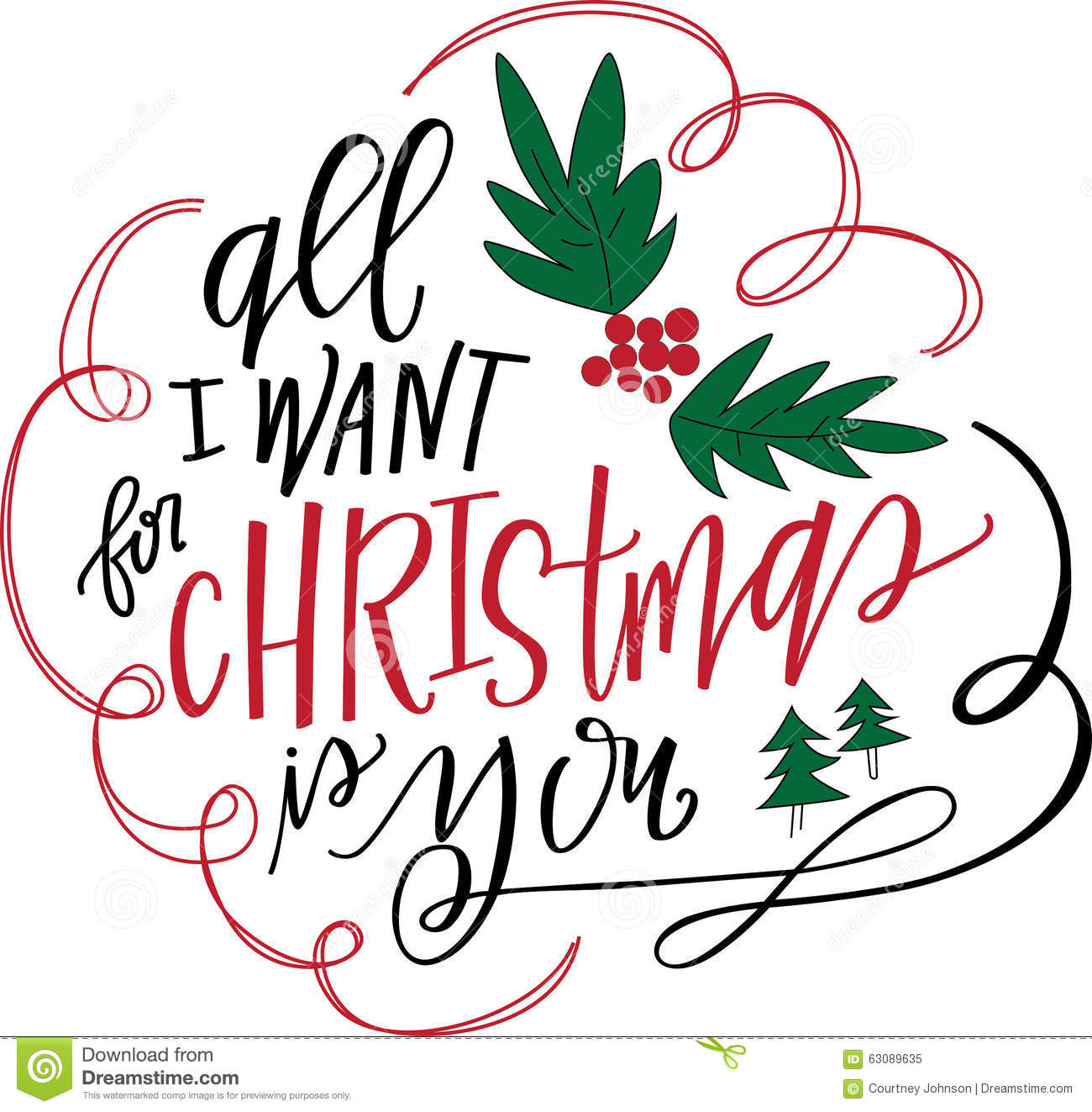 All I Want For Christmas Is You Stock Illustration - Image: 63089635