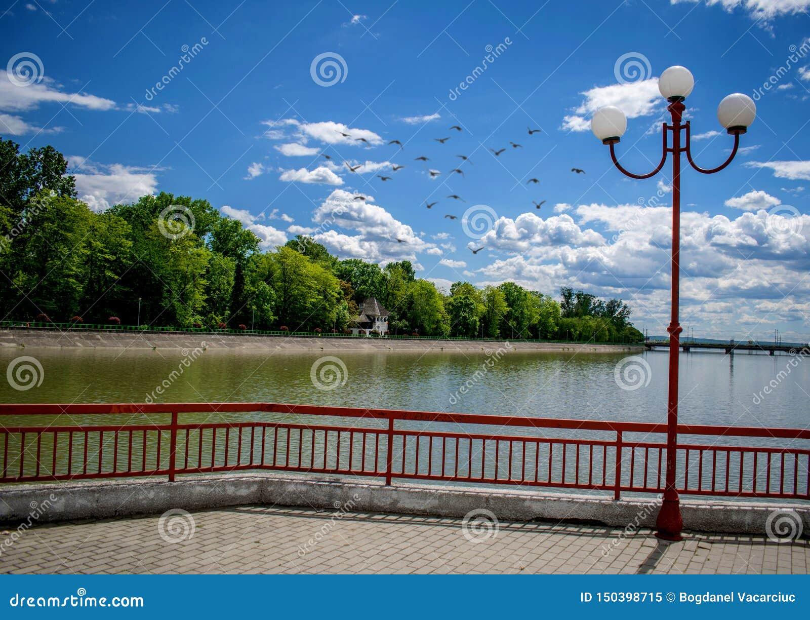 All inizio di estate in un bello parco Acqua, cielo blu, foresta verde e una lanterna