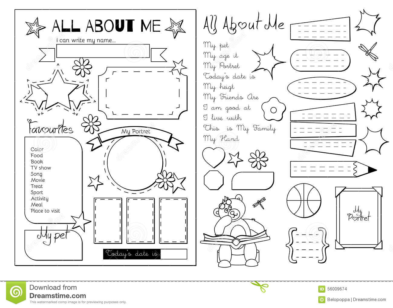 picture regarding Free Printable All About Me Poster named All Around Me. Higher education Printable Inventory Vector - Instance