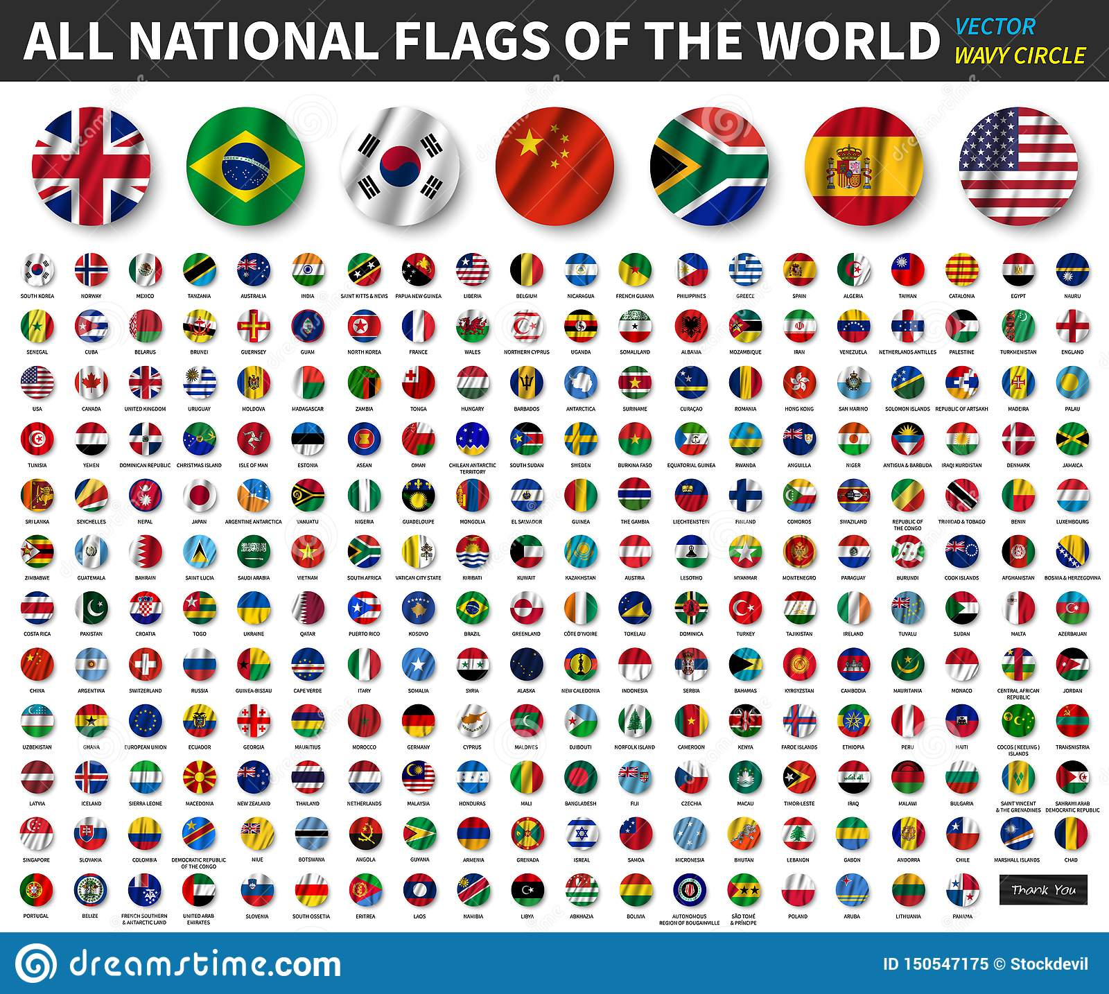 All national flags of the world . Waving circle flag design . Vector