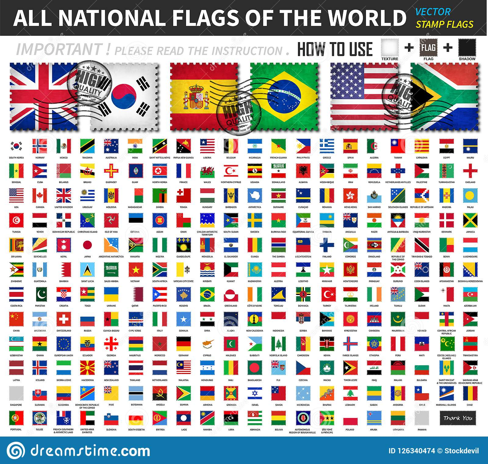 All Official National Flags Of The World   Old Stamp Shape