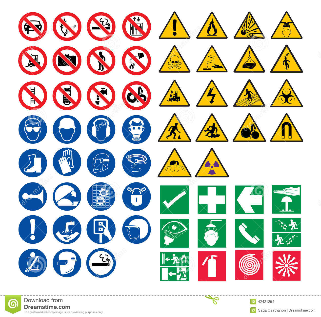 All Safety Signs Stock Vector - Image: 42421254