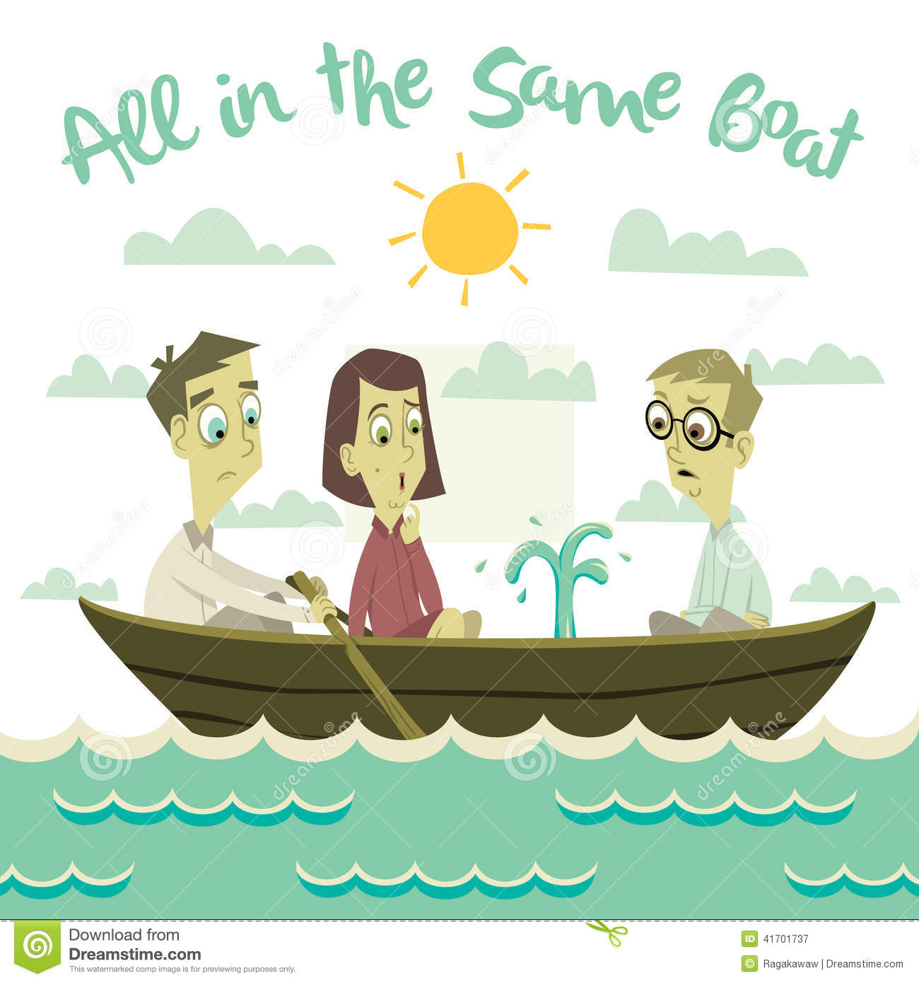 All In The Same Boat Illustration Stock Vector - Image: 41701737
