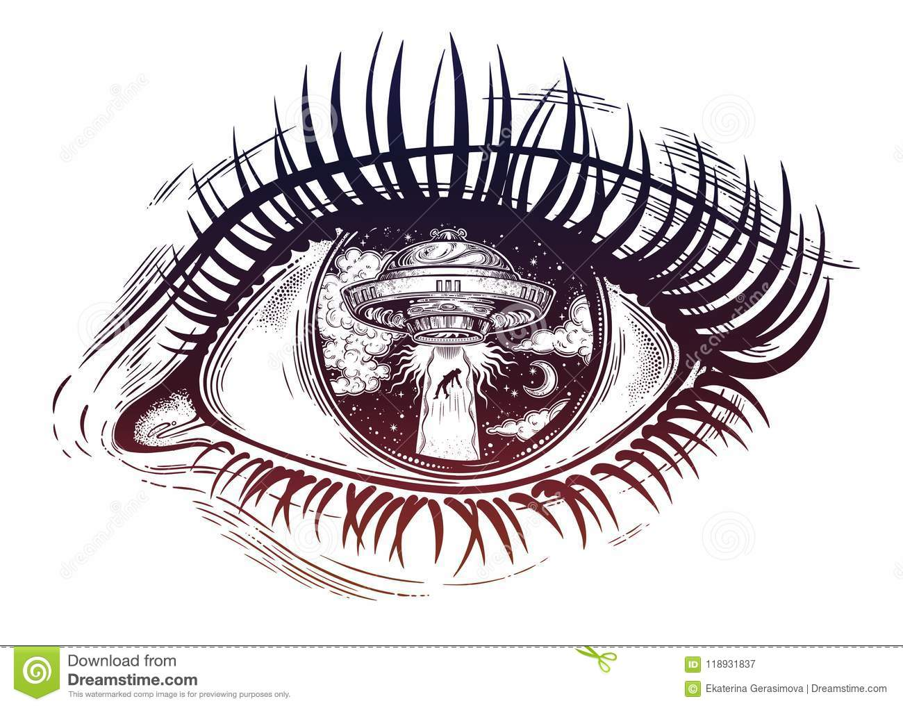 All Seeing Eye With Fantastic Alien Spaceship Ufo Abduction Of A Human With Flying Saucer Stock Vector Illustration Of Galaxy Alien 118931837