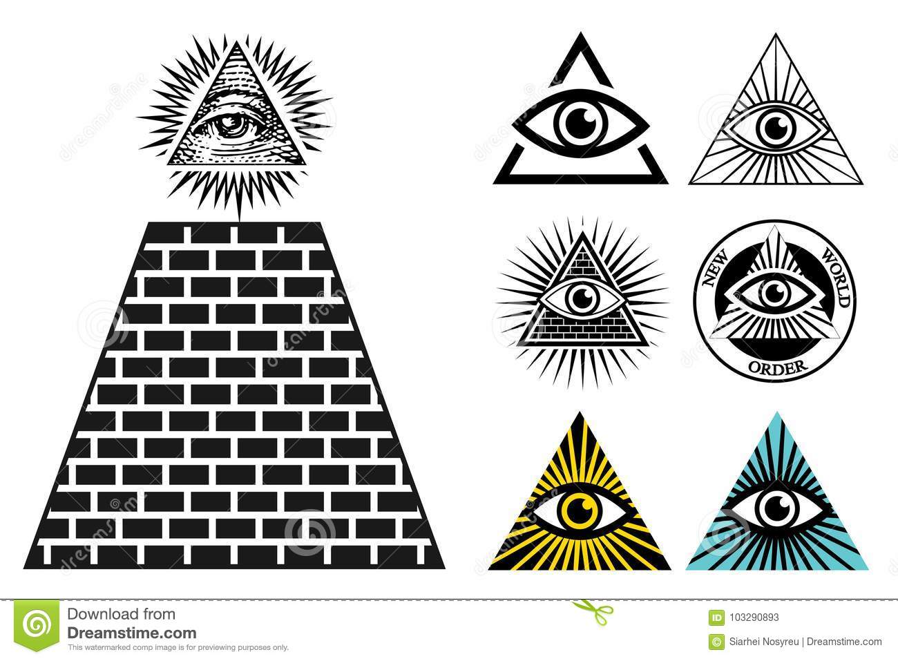 All Seeing Eye Icons Set Pyramid Illuminati Symbol Stock Vector
