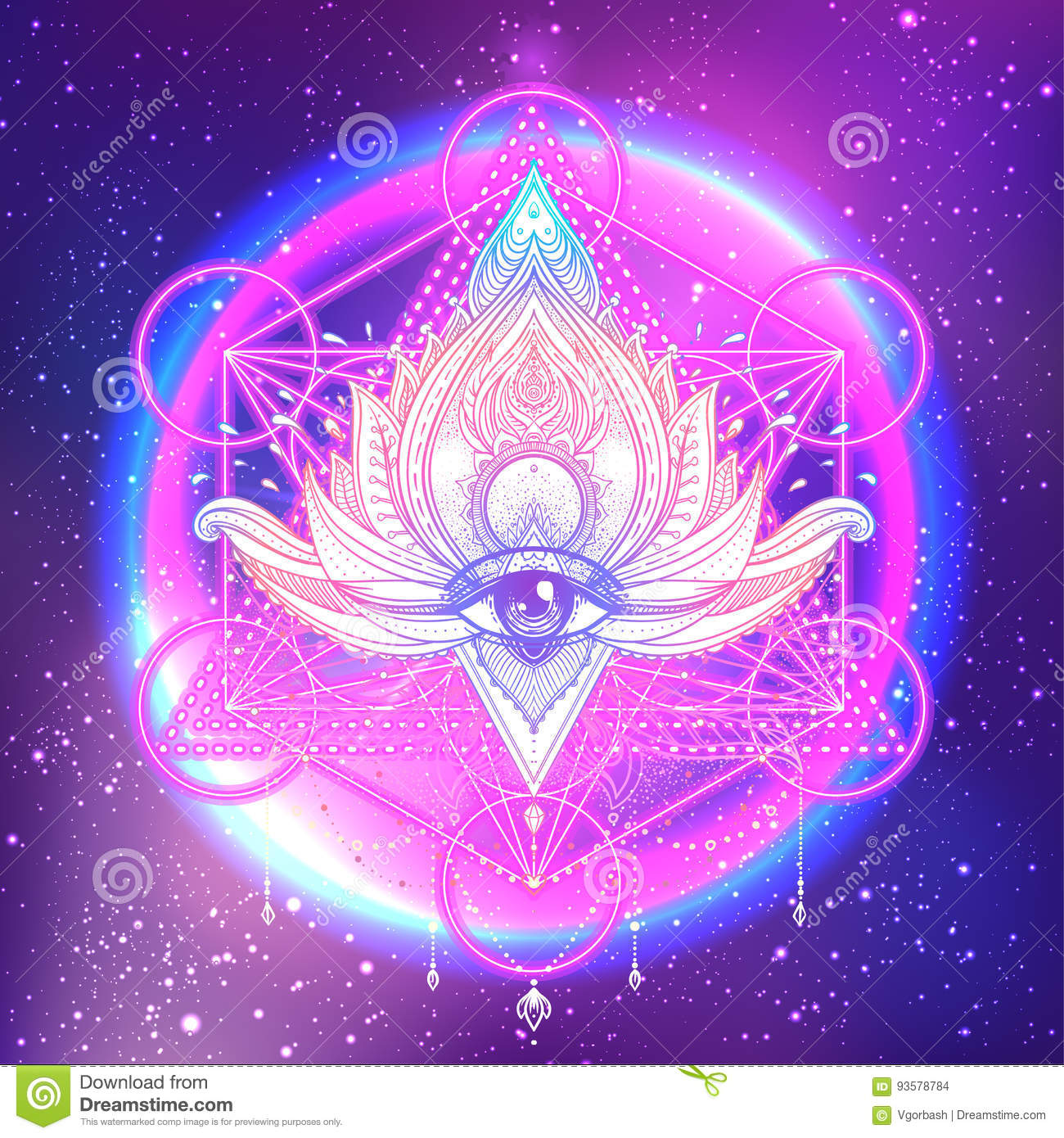 All Seeing Eye In Lotus Vector Ornamental Lotus Flower Ethnic A