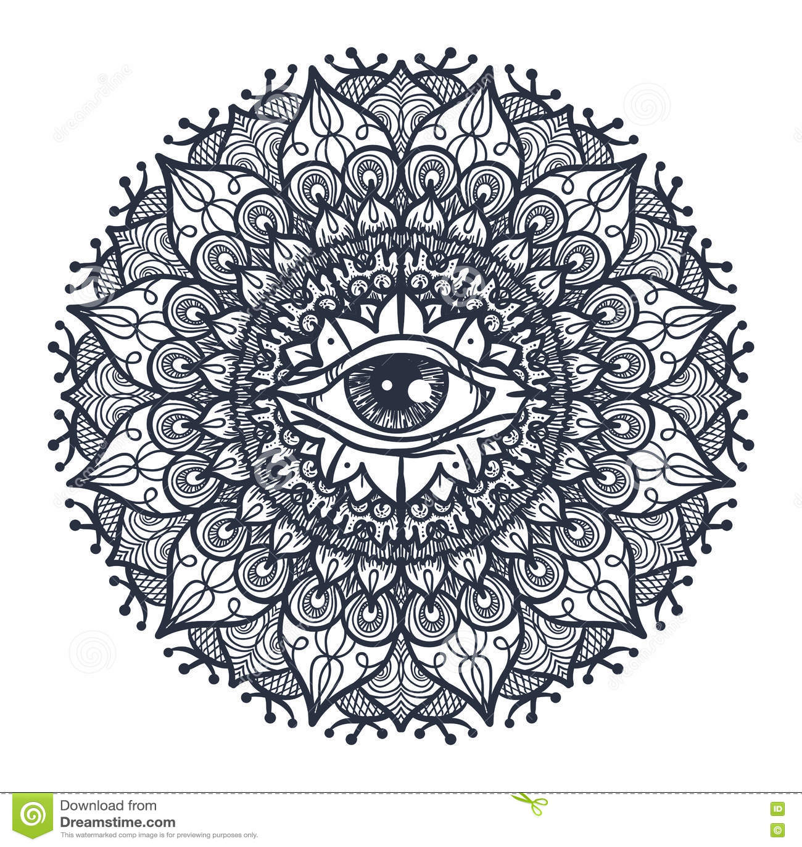 All Seeing Eye In Mandala Stock Illustration Illustration