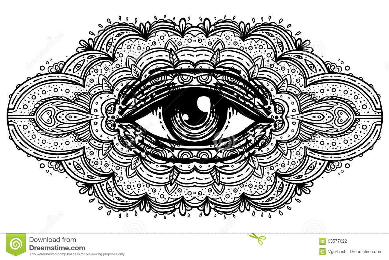All seeing eye in ornate mandala inspired pattern. Mystic, alchemy, occult concept. Design for music