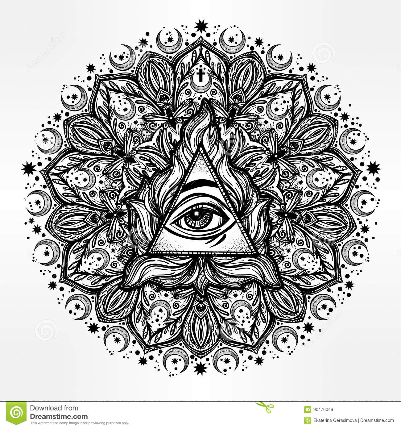 All Seeing Eye In Ornate Round Mandala Pattern Stock