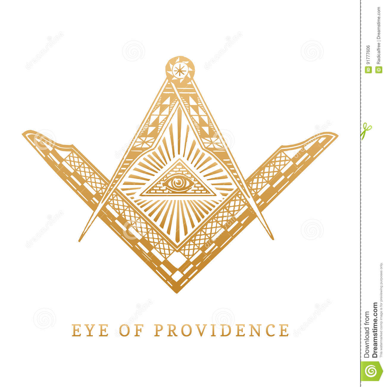 All Seeing Eye Of Providence Masonic Square And Compass Symbols