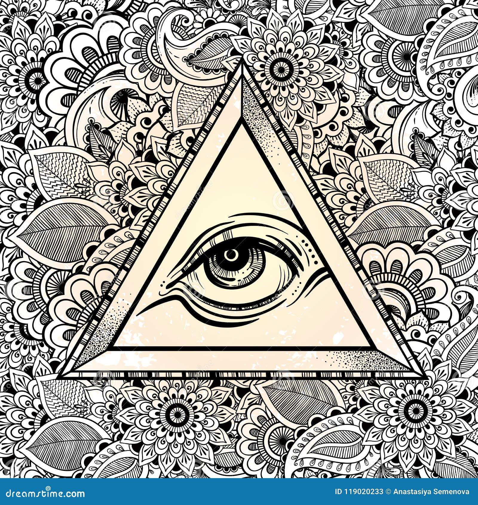 d9593b56c3b79 All seeing eye pyramid symbol. Hand-drawn Eye of Providence. Alchemy,  religion, spirituality, tattoo art. Vector illustration.