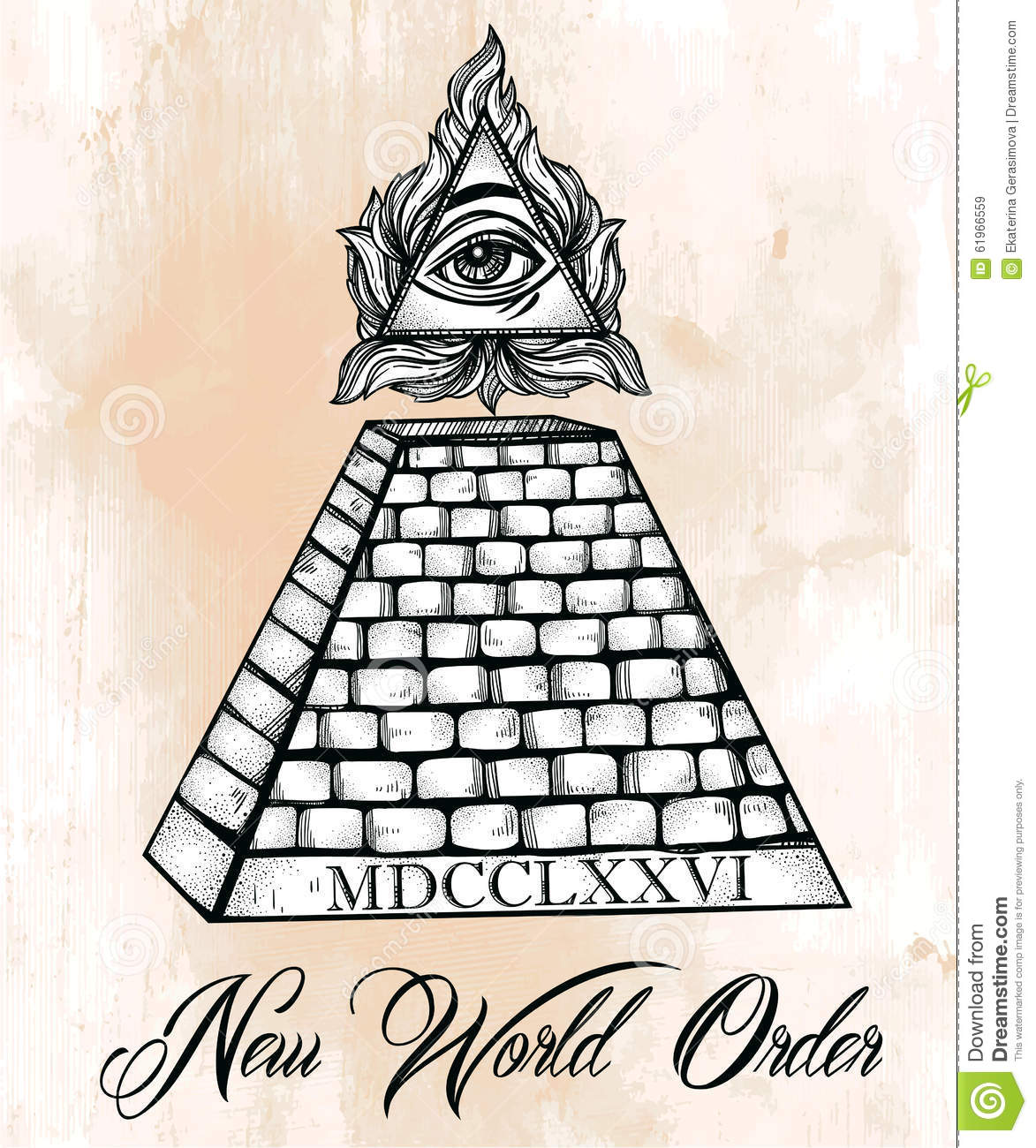 All Seeing Eye Pyramid Symbol Stock Vector Illustration Of Aged
