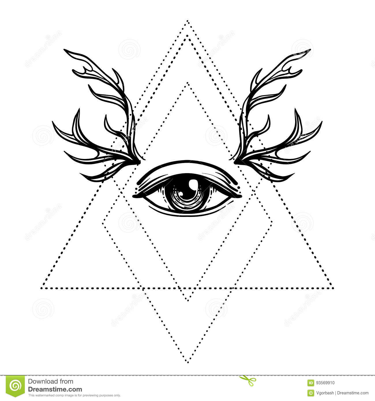 All seeing eye symbol over rose flower and deer antlers sacred all seeing eye symbol over rose flower and deer antlers sacred beauty magic buycottarizona Choice Image