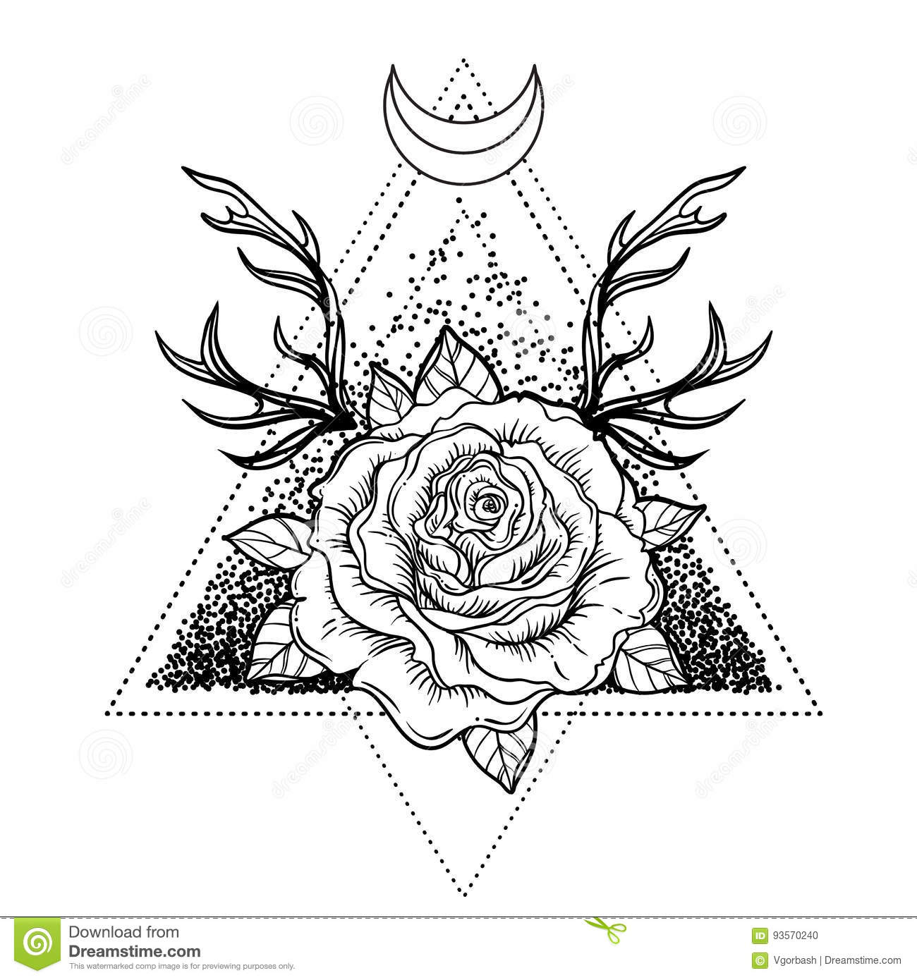 Eye In A Rose Tattoo: All Seeing Eye Symbol Over Rose Flower And Deer Antlers