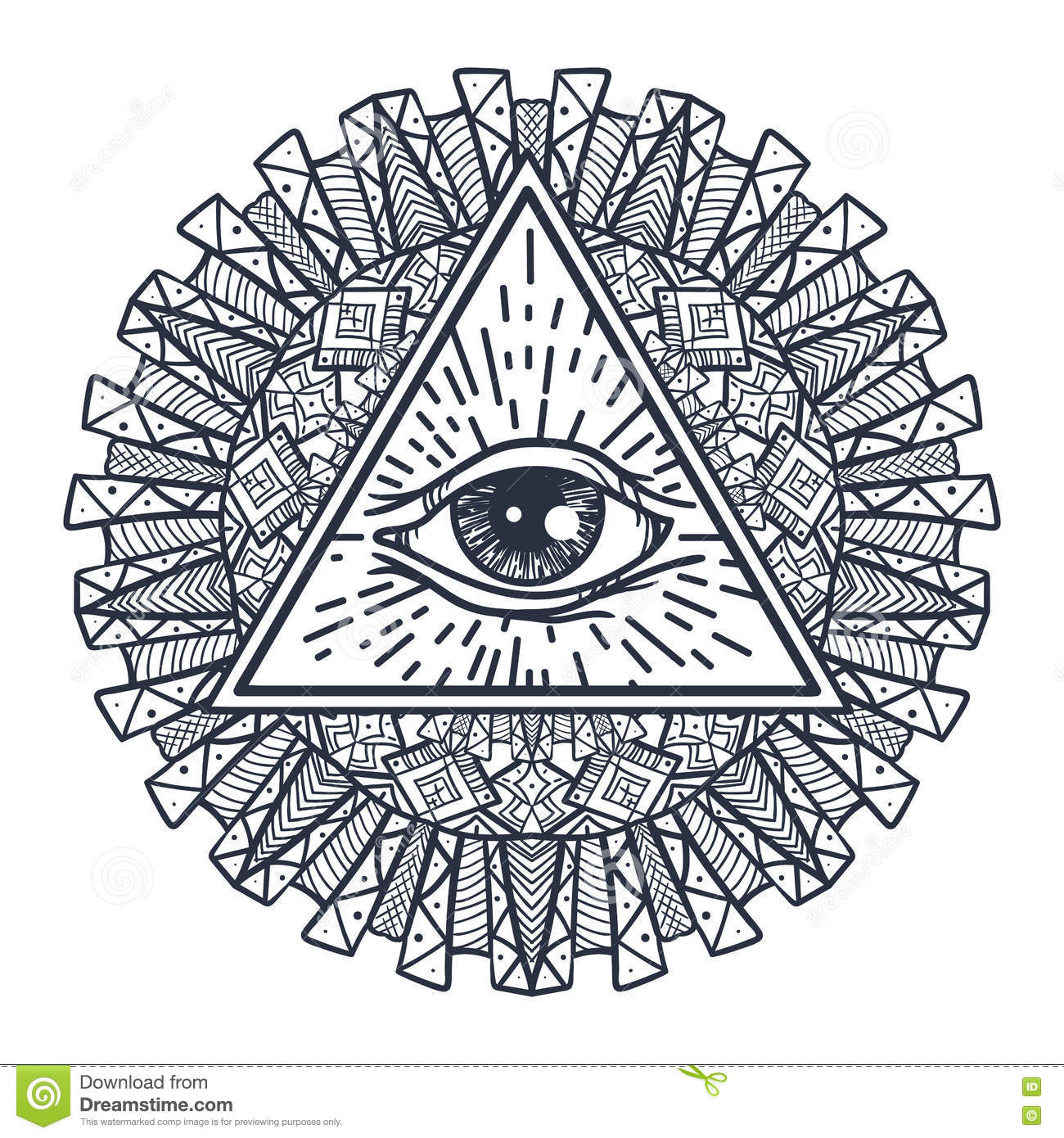All Seeing Eye In Triangle And Mandal Stock Vector
