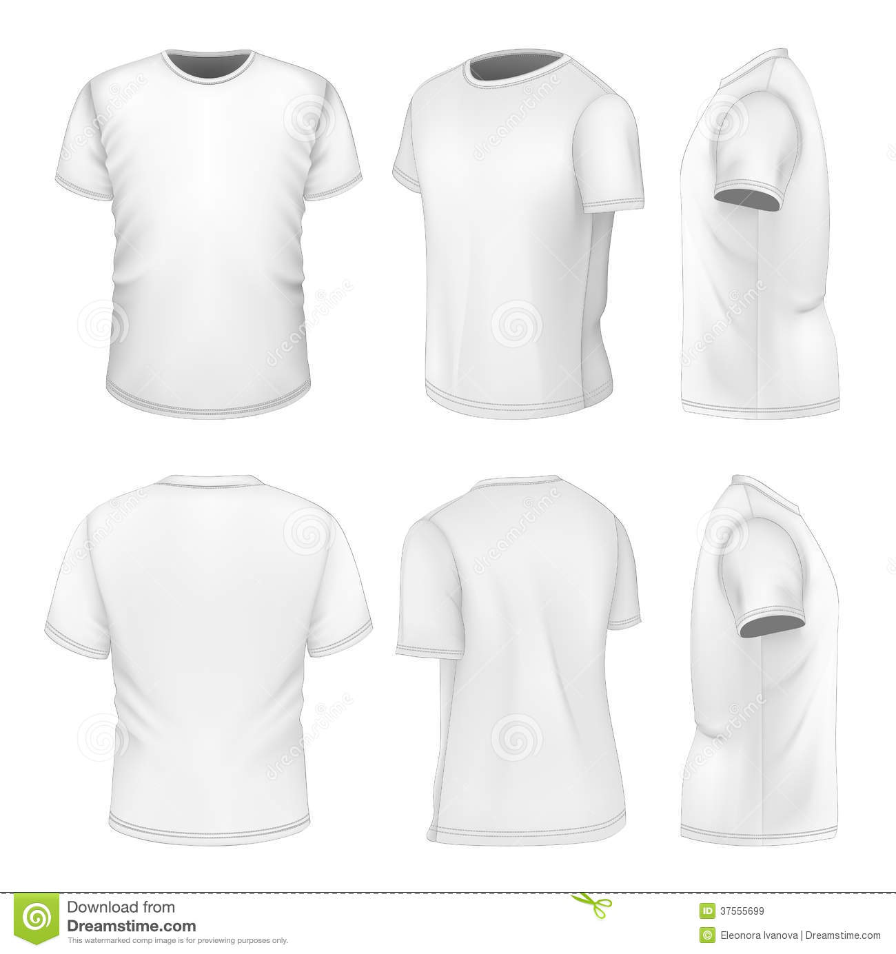 d3a2f37db Photo-realistic vector illustration. All six views men's white short sleeve  t-shirt design templates. Illustration contains gradient mesh.