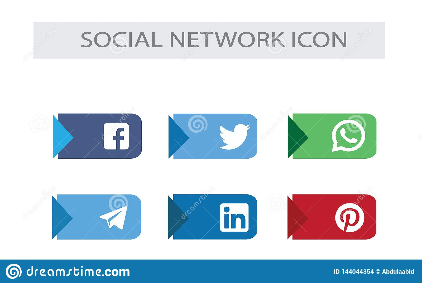Social Media Icons Package Top Social Network Brand Stock