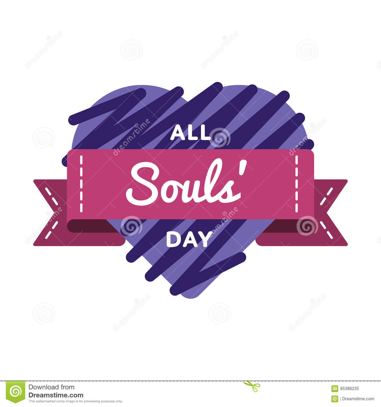 All Souls Day Holiday Greeting Emblem Stock Vector Illustration Of