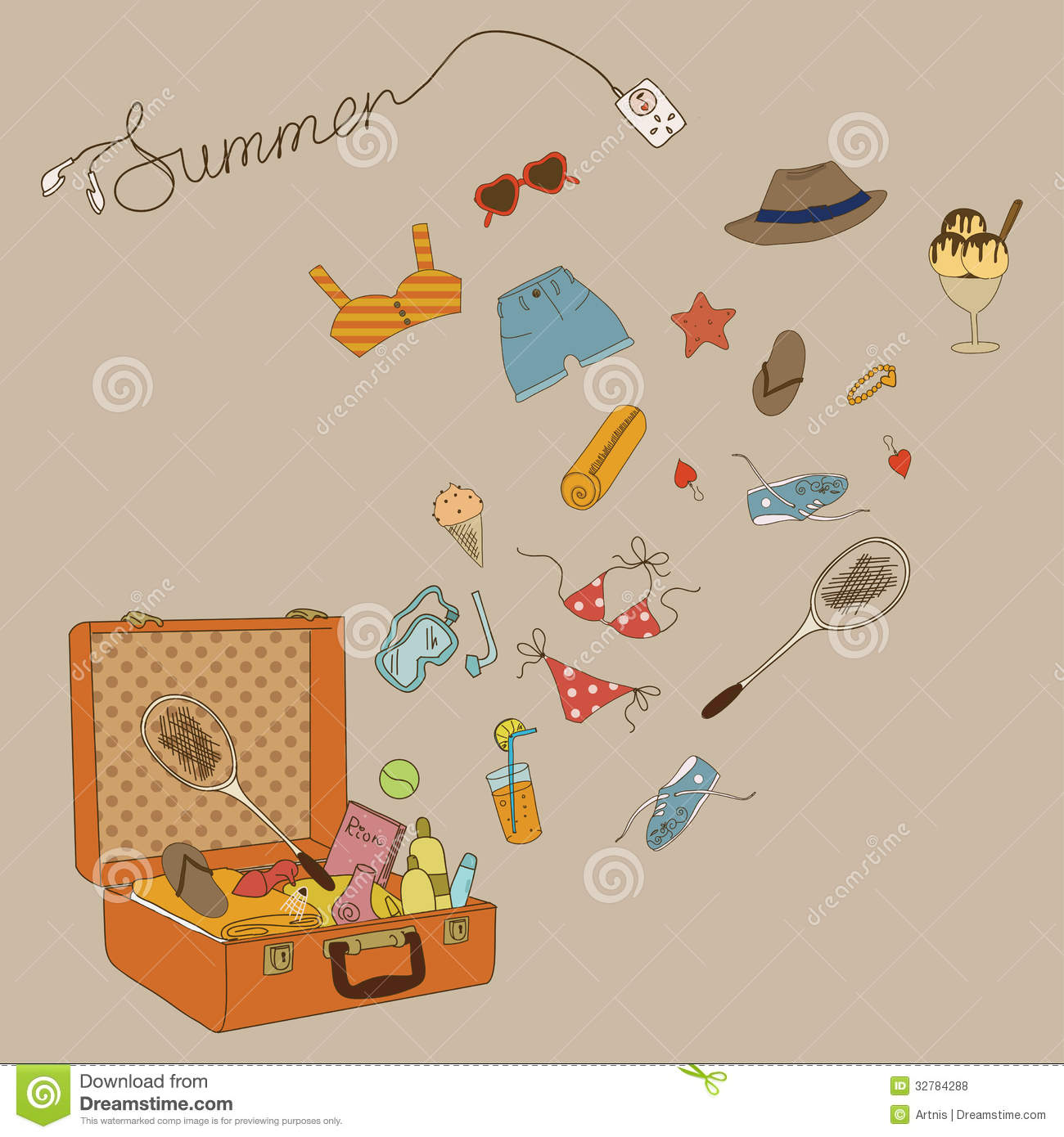 Couple Enjoying Their Summer Holidays Stock Photo: All For The Summer Holidays. Suitcase With Things And