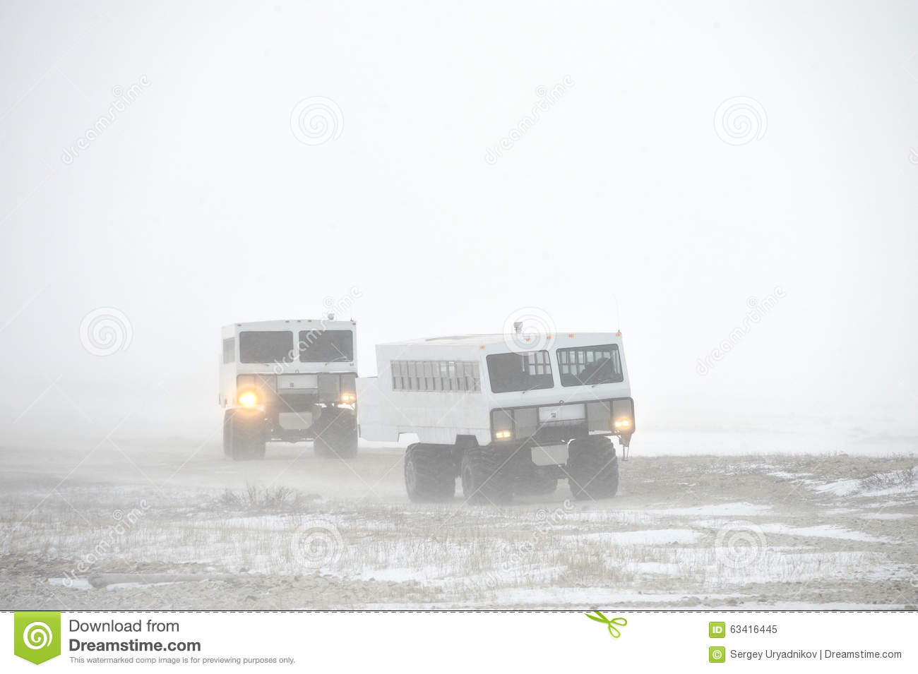 The all-terrain vehicle for snow trips to a snow blizzard in the tundra. Special car for the Arctic safari.