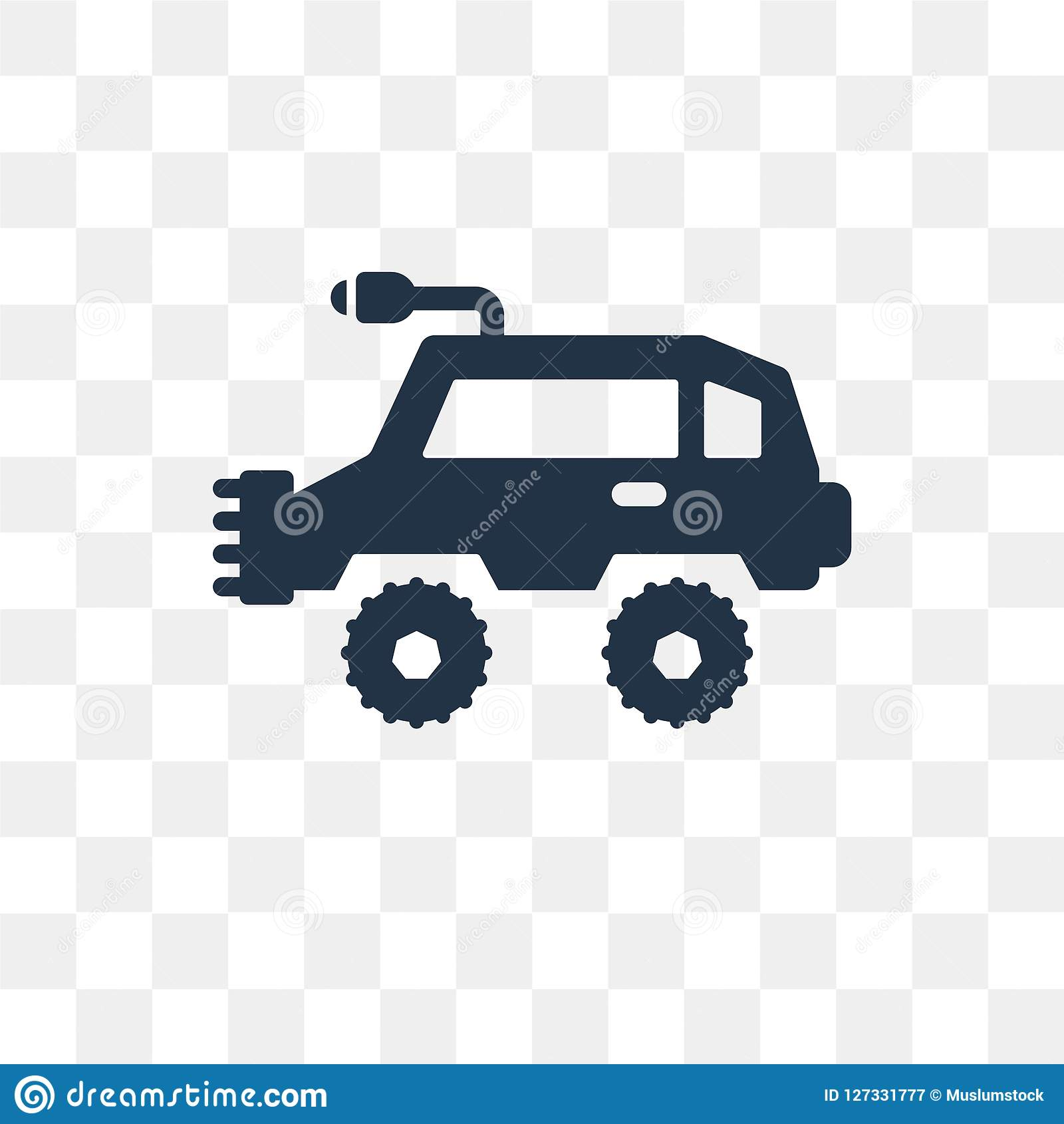 All terrain vehicle vector icon isolated on transparent background, All terrain vehicle transparency concept can be used web and