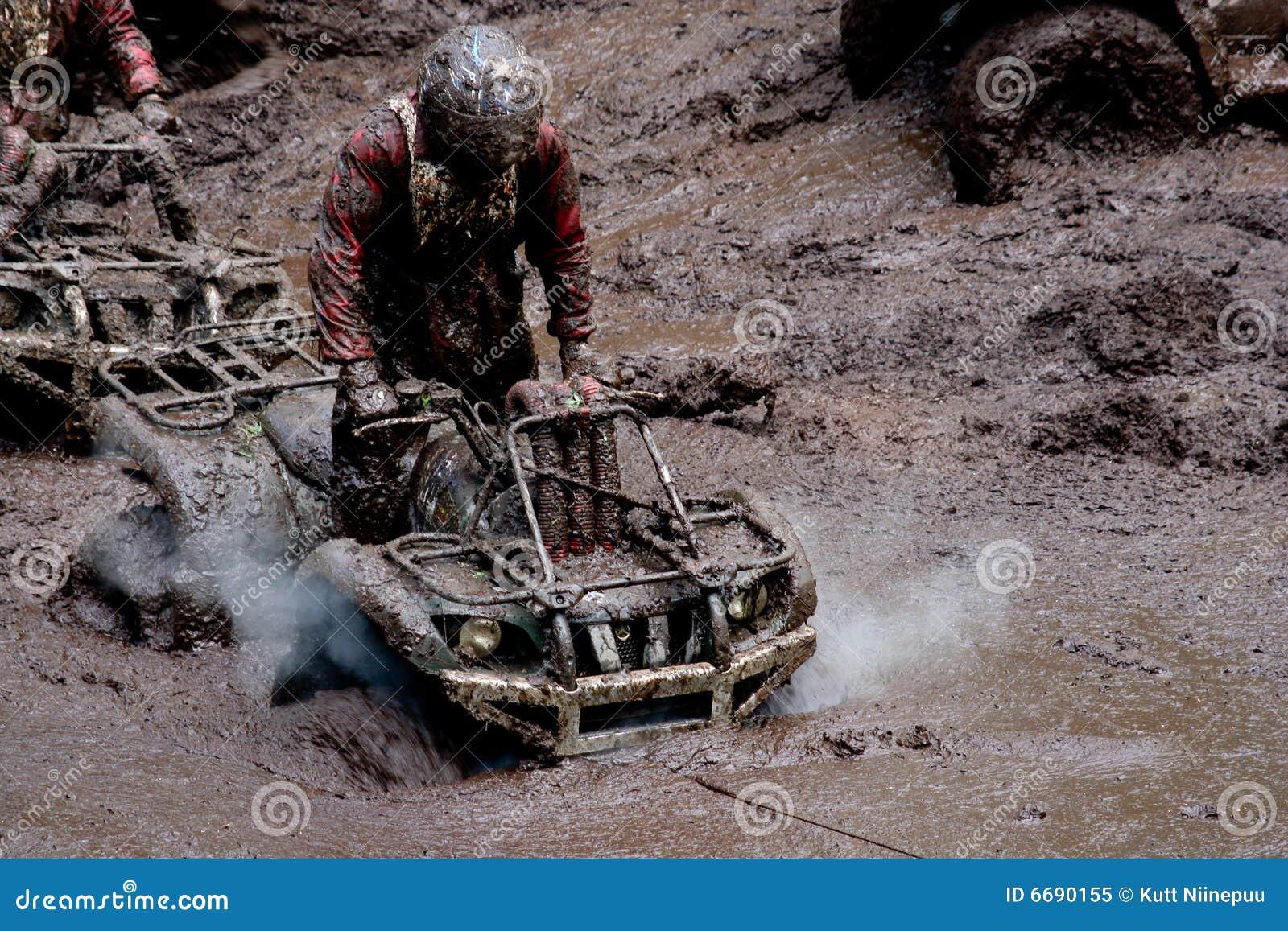 All-terrain vehicles in mud