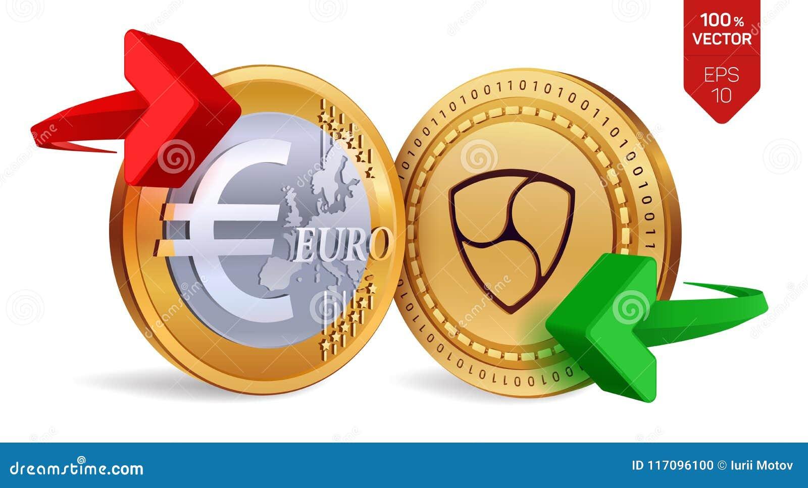 All unanimità all euro cambio All unanimità Euro violento a metà contro vecchia priorità bassa Cryptocurrency Monete dorate con a