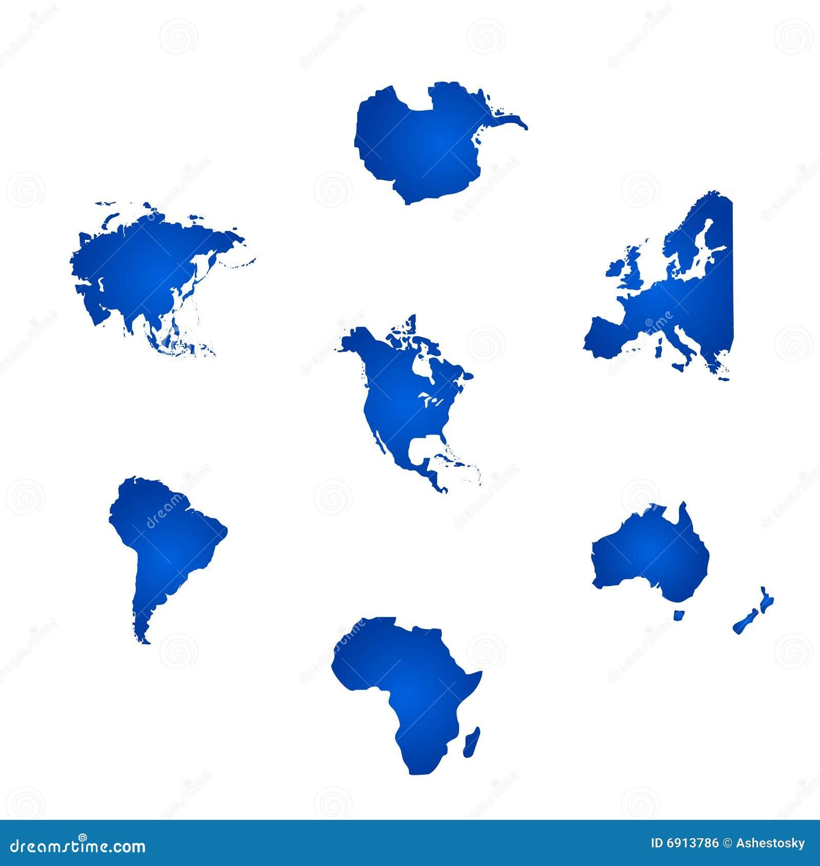All värld för kontinentar sex
