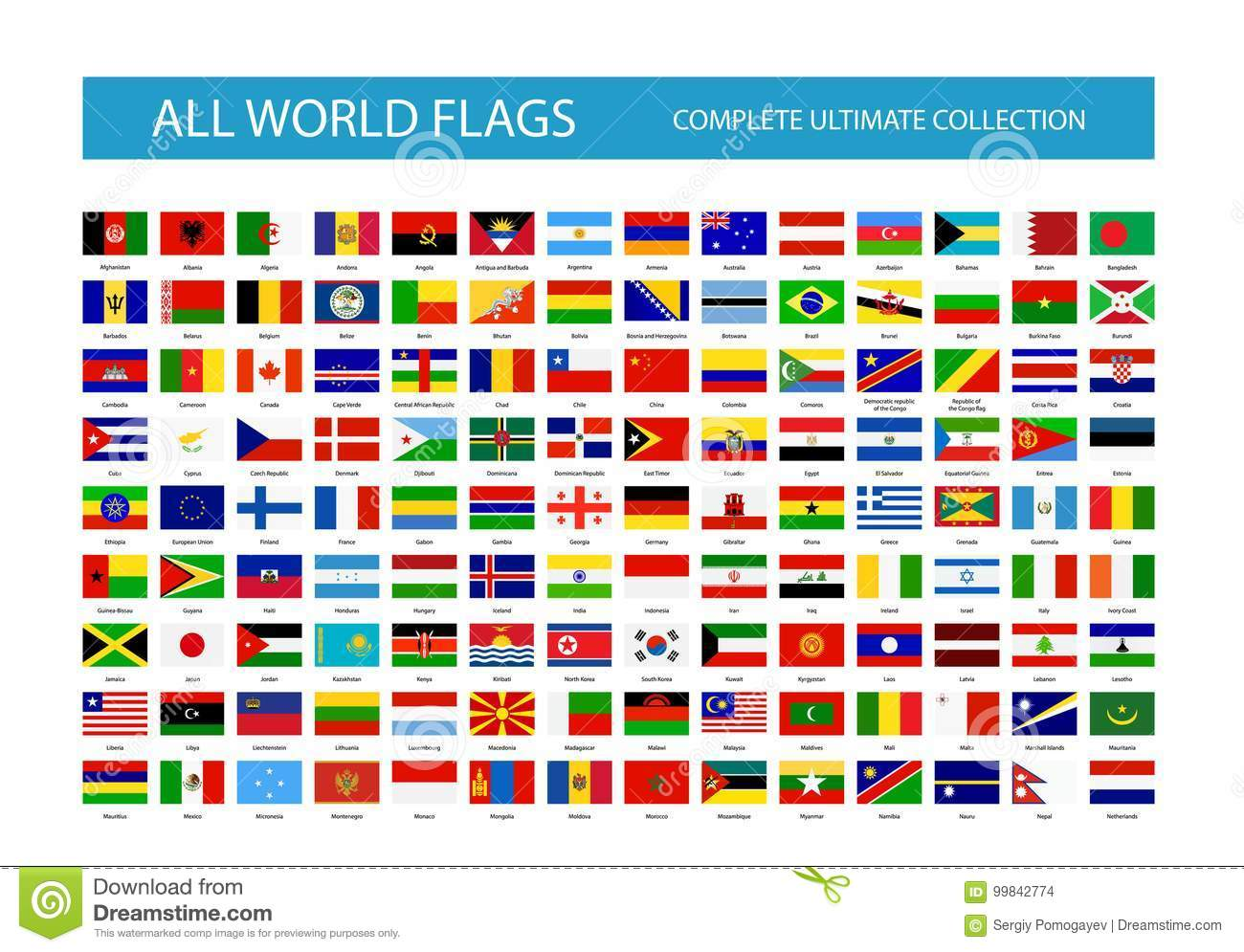 all vector world country flags part 1 stock vector illustration