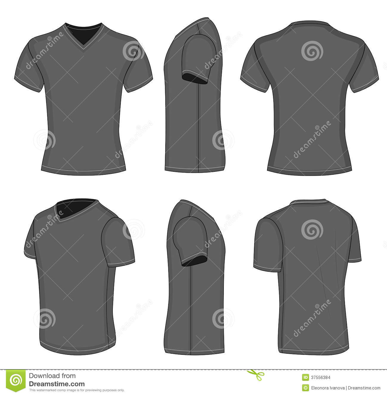 f11e25cc4 All views men's black short sleeve t-shirt v-neck design templates (front,  back, half-turned and side views). Vector illustration. No mesh.