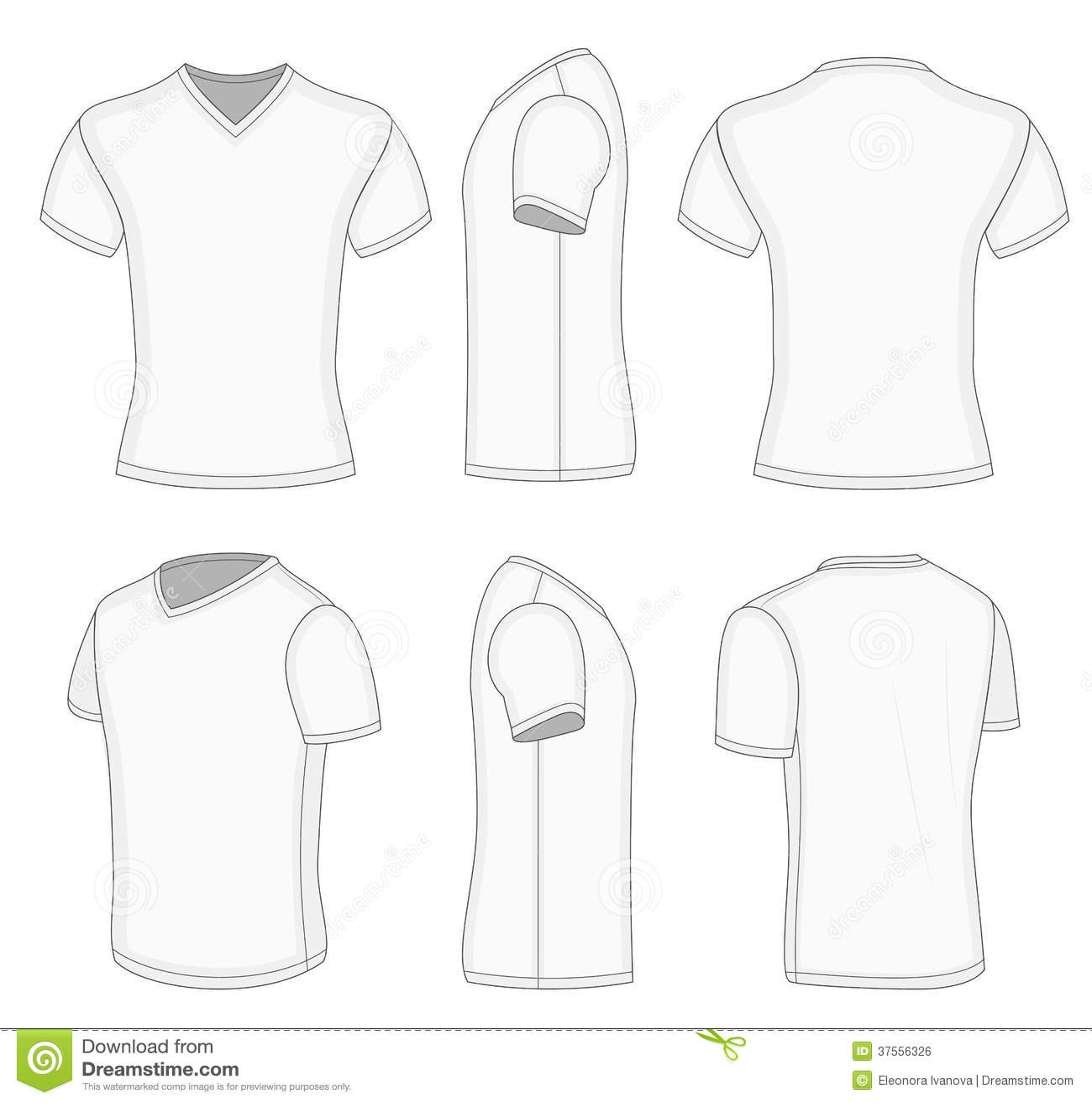 all views men 39 s white short sleeve v neck t shirt stock vector illustration of wear view. Black Bedroom Furniture Sets. Home Design Ideas