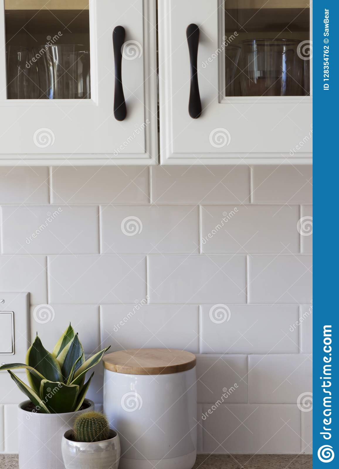 All White Kitchen Cabinet Tile And Decor Stock Photo Image Of Arrange Copy 128354762