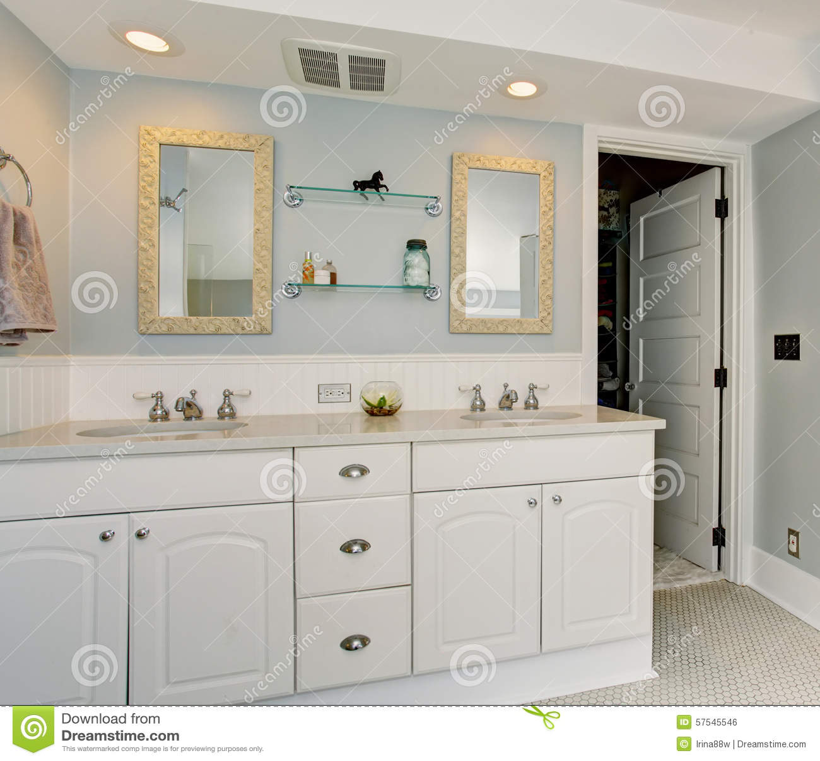 All White Luxury Master Bathroom With Vintage Theme. Stock Photo ...