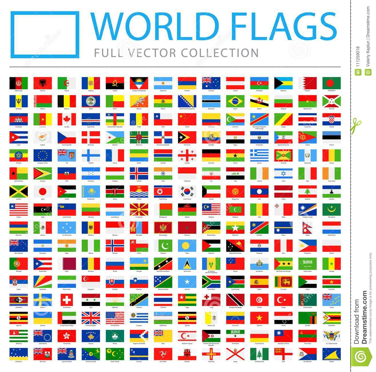 All World Flags - New Additional List of Countries and Territories - Vector Rectangle Flat Icons