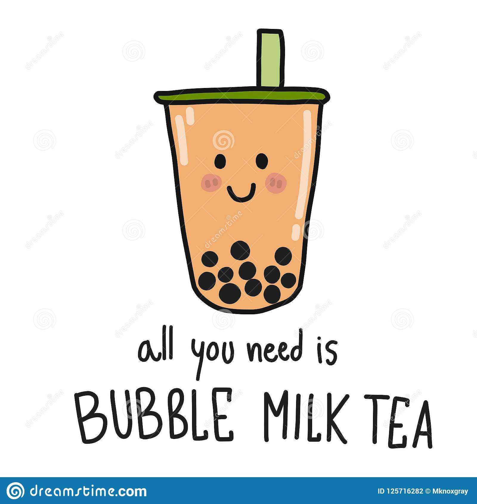 boba bubble tea with straw background cartoon vector