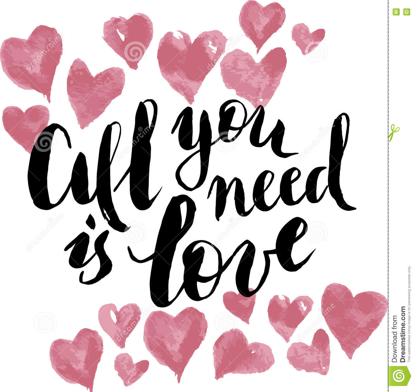 All You Need Is Love Calligraphy Postcard Or Poster