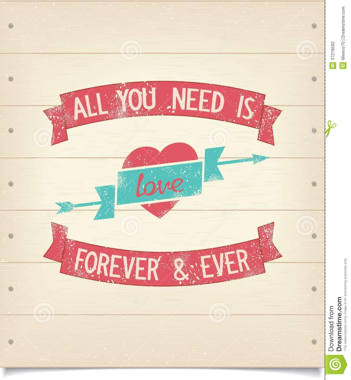 All You Need Is Love Phrase On Wood Signboard Stock Vector