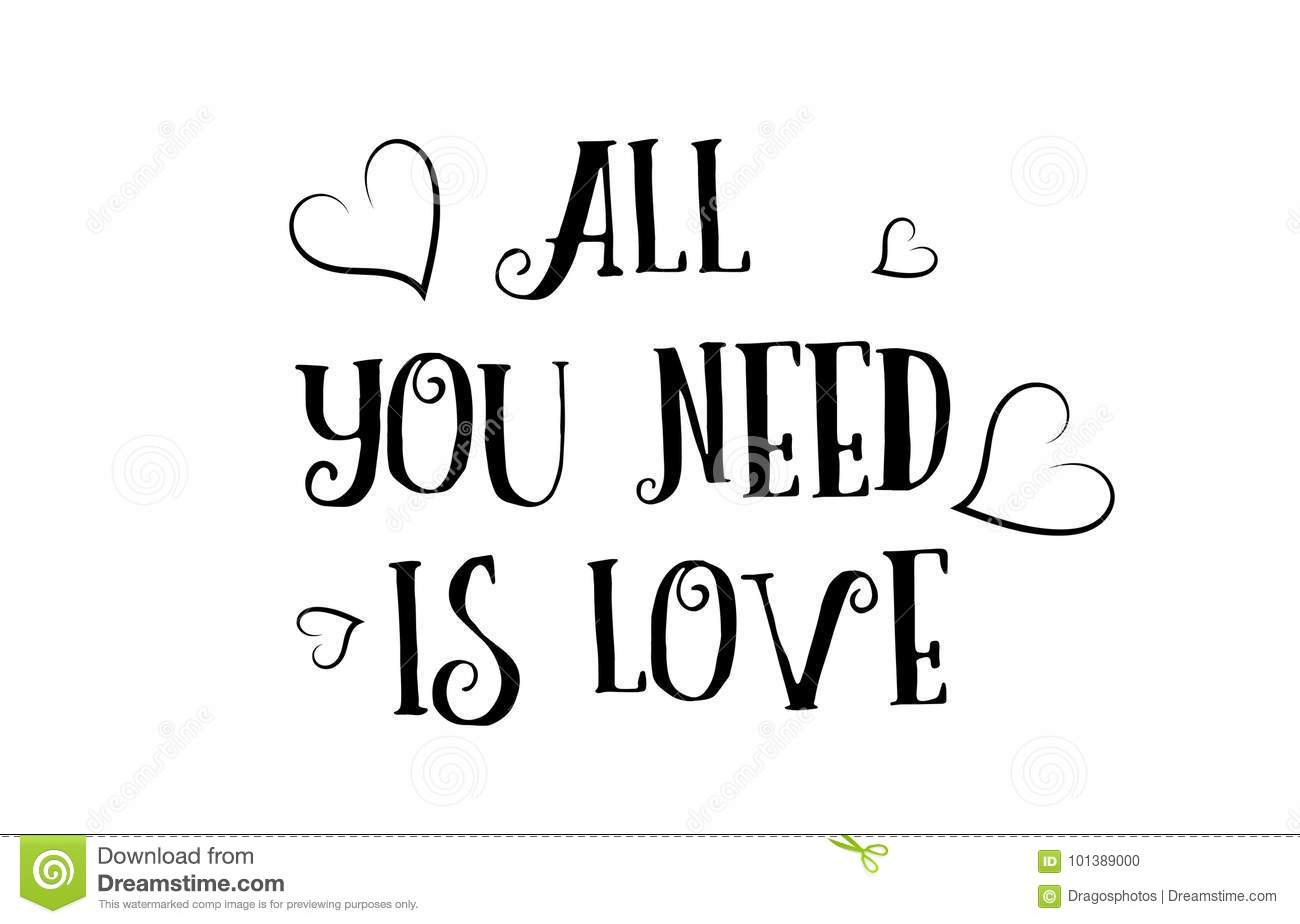 All You Need Is Love Quote Logo Greeting Card Poster Design Stock